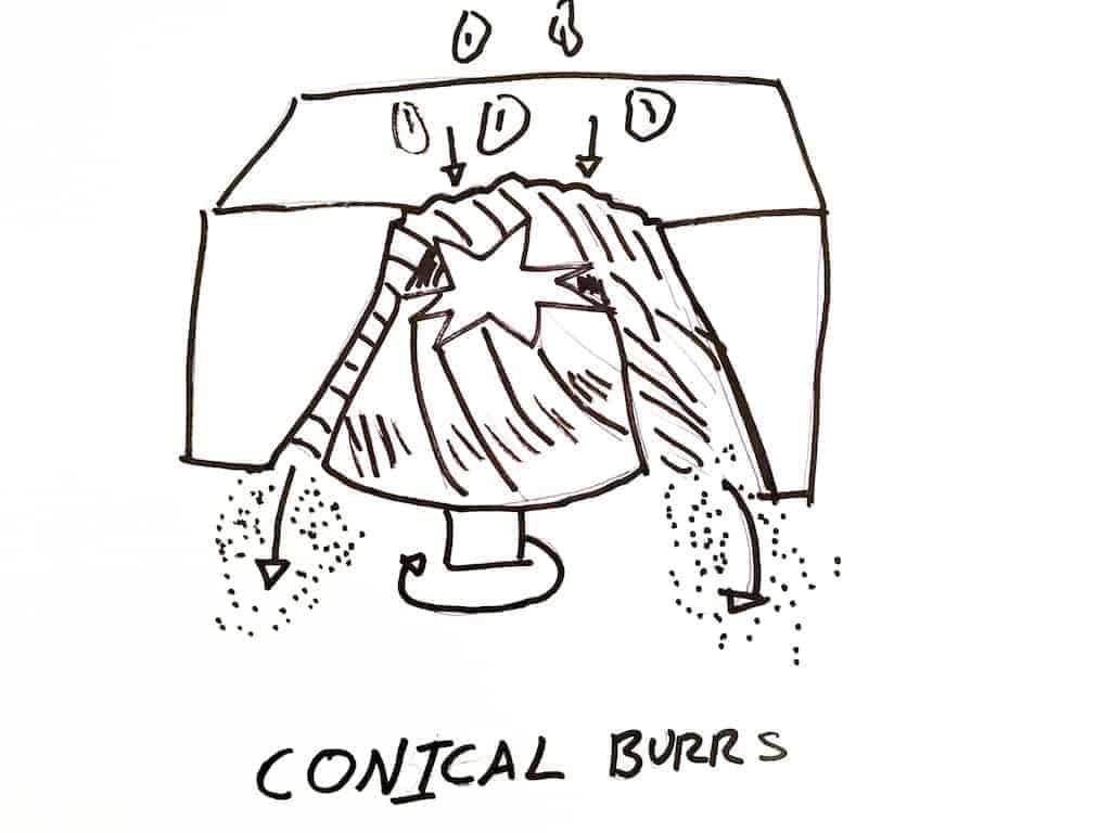 Conical burr grinder diagram
