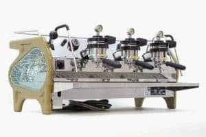 A custom La Marzocco with glass detailing.